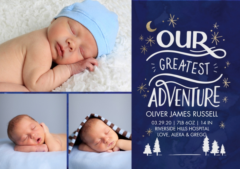Baby Boy Announcements Flat Glossy Photo Paper Cards with Envelopes, 5x7, Card & Stationery -Baby Adventure by Tumbalina
