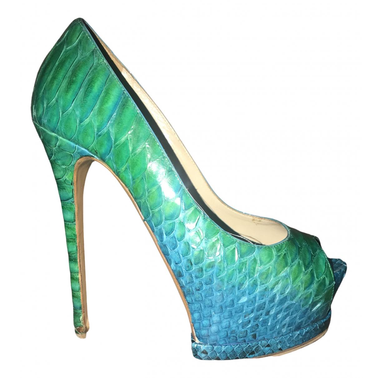 Gianmarco Lorenzi N Blue Python Heels for Women 36 EU