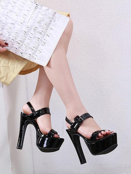 Milanoo Sandalias de tacon alto Plataforma de mujer Zapatos de sandalia de tacon grueso con punta abierta