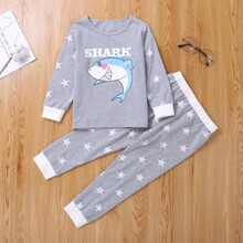 Toddler Boys Letter & Cartoon Graphic Sweatshirt With Sweatpants