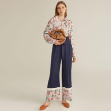 Flap Pocket Patched Blouse and Self Belted Pants Set