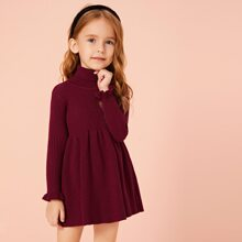 Kleinkind Maedchen Pulloverkleid mit Rollkragen und Schosschenaermeln