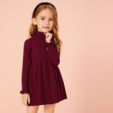 Toddler Girls Turtleneck Flounce Sleeve Sweater Dress