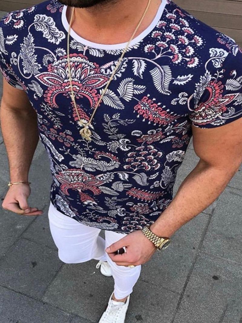 Ericdress Print Casual Round Neck Men's Slim Short Sleeve T-shirt