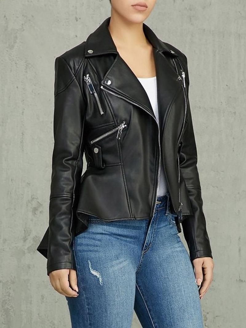 Ericdress Zipper Mid-Length Slim PU Asymmetric Jacket