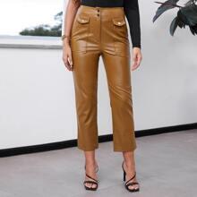 Button Front Slant Pocket PU Leather Pants