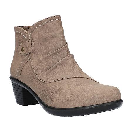 Easy Street Womens Cooper Booties Block Heel, 6 1/2 Wide, Beige