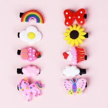 10 Stuecke Kleinkind Maedchen Haarspangen mit Schleife & Schmetterling Dekor