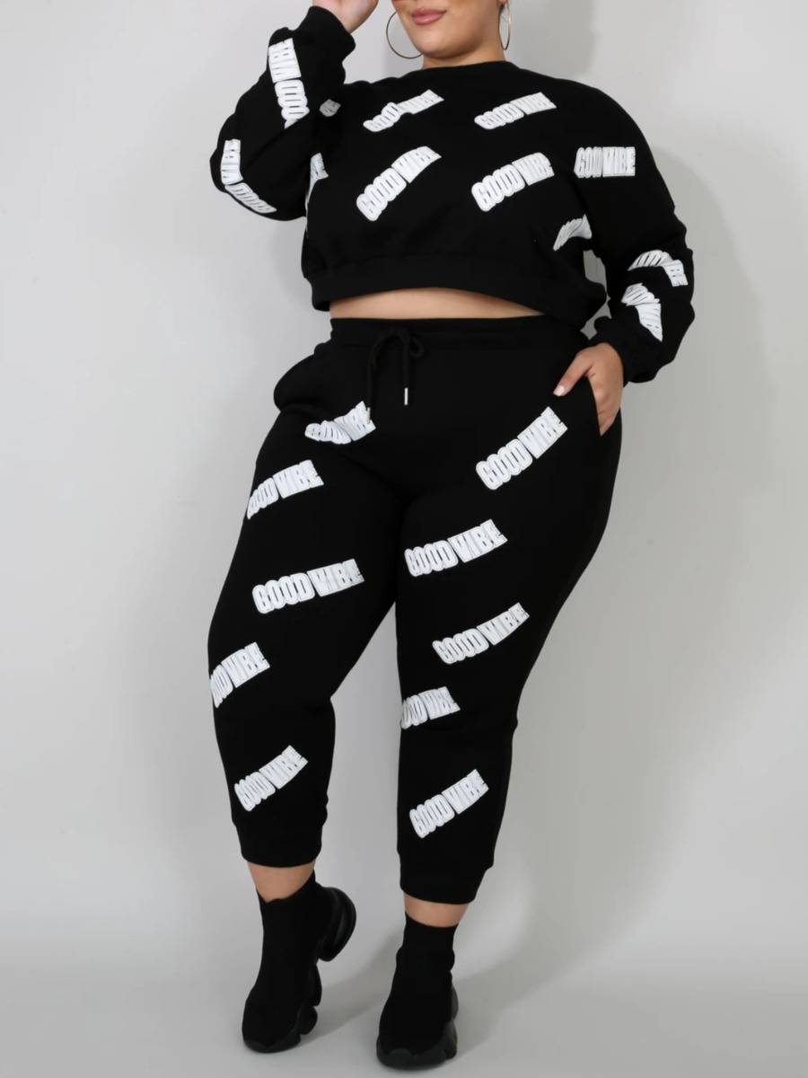 LW lovely Sportswear O Neck Print Black Plus Size Two-piece Pants Set