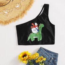 Cartoon Animal One Shoulder Bikini Top