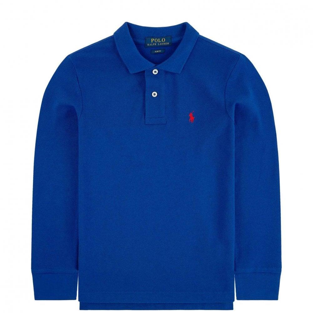 Ralph Lauren Kids Long Sleve Logo Polo Colour: BLUE, Size: 4 YEARS