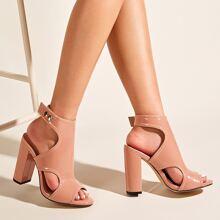 Slingback Chunky Heeled Sandals