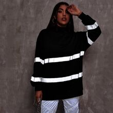 Langer Pullover mit Stehkragen und reflektierendem Band