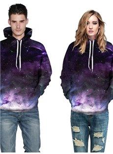 3D Pattern Purple Universal Galaxy Cool Long Sleeve Hoodie