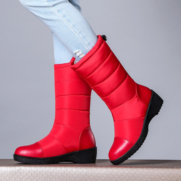 Down Cloth Pure Color Mid Calf Lightweight Chunky Heel Boots