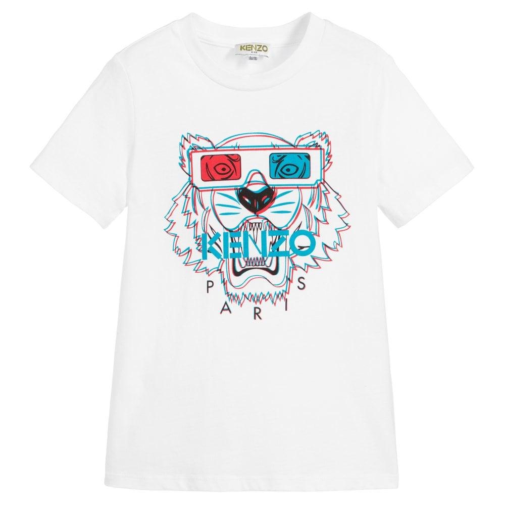 Kenzo Kids 3D Tiger Print T-Shirt White Colour: WHITE, Size: 4 YEARS