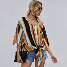 Striped Batwing Sleeve Knot Hem Blouse