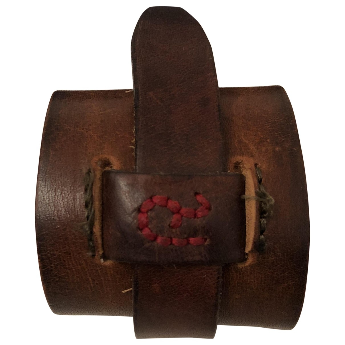 Non Signé / Unsigned Manchette Brown Leather bracelet for Women \N