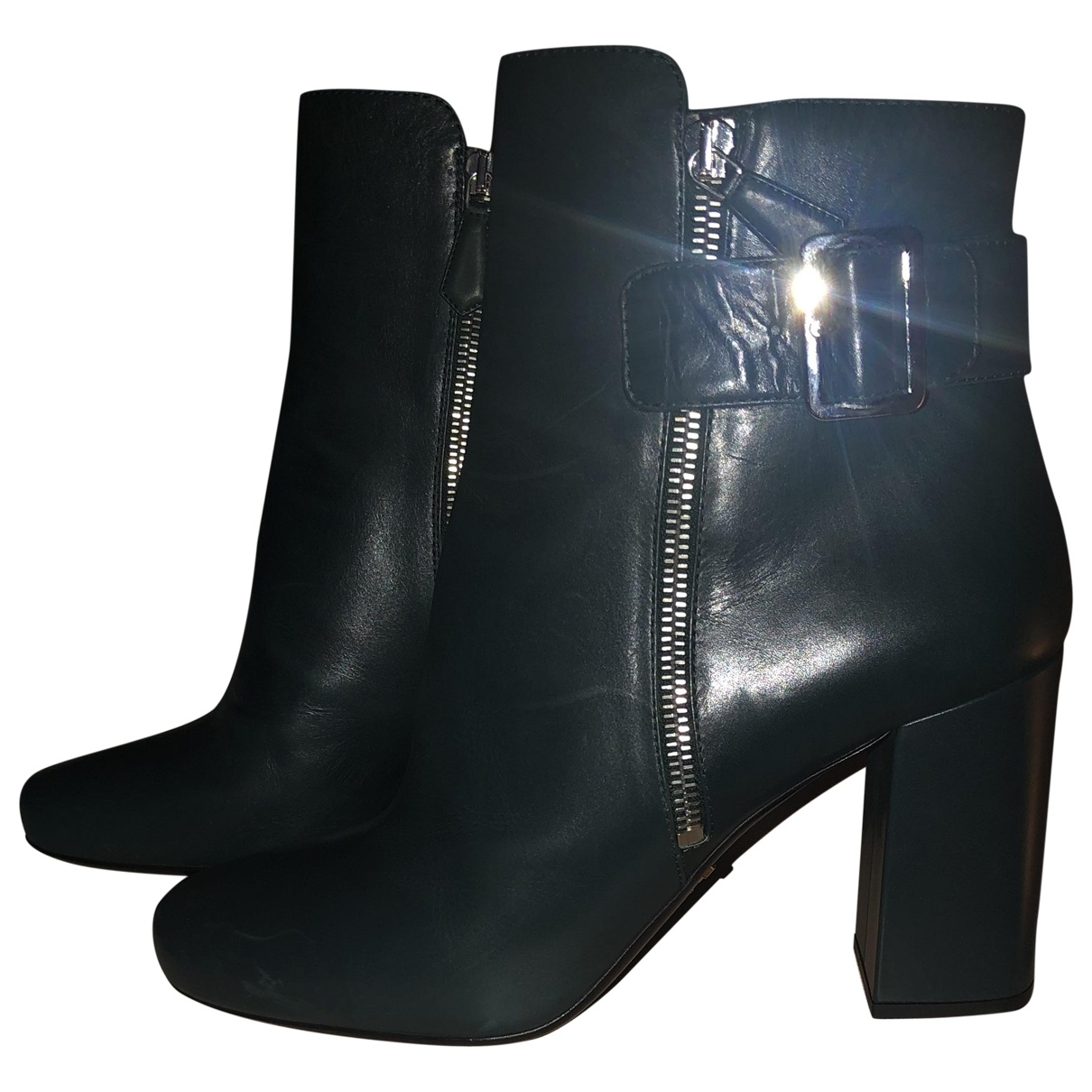 Prada \N Green Leather Ankle boots for Women 40 EU