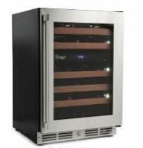 VDZW24 Vintage Wine Cooler with 46 Bottle Capacity  Black body sides  Seamless welded door construction  Stainless steel glass door with Pro-style