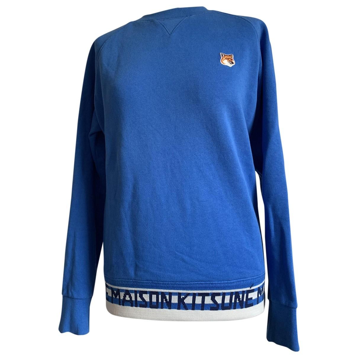 Maison Kitsune \N Pullover.Westen.Sweatshirts  in  Blau Baumwolle