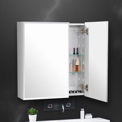 Armoire de toilette en aluminium à grand espace de rangement, encastrée ou montage en surface