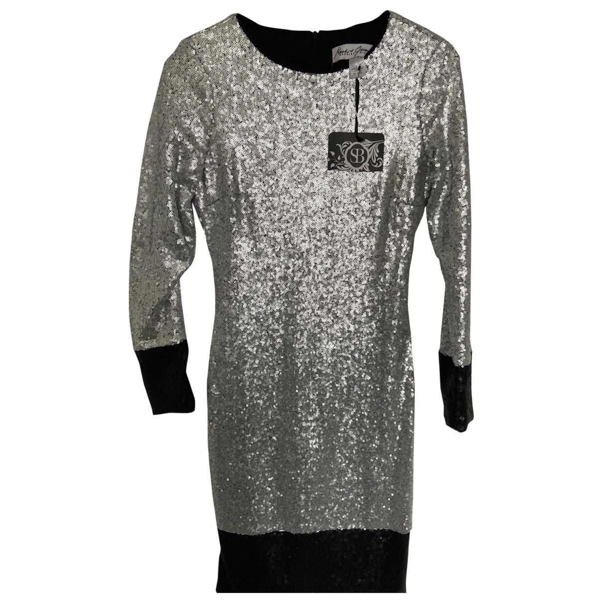 Badgley Mischka \N Kleid in  Silber Mit Pailletten
