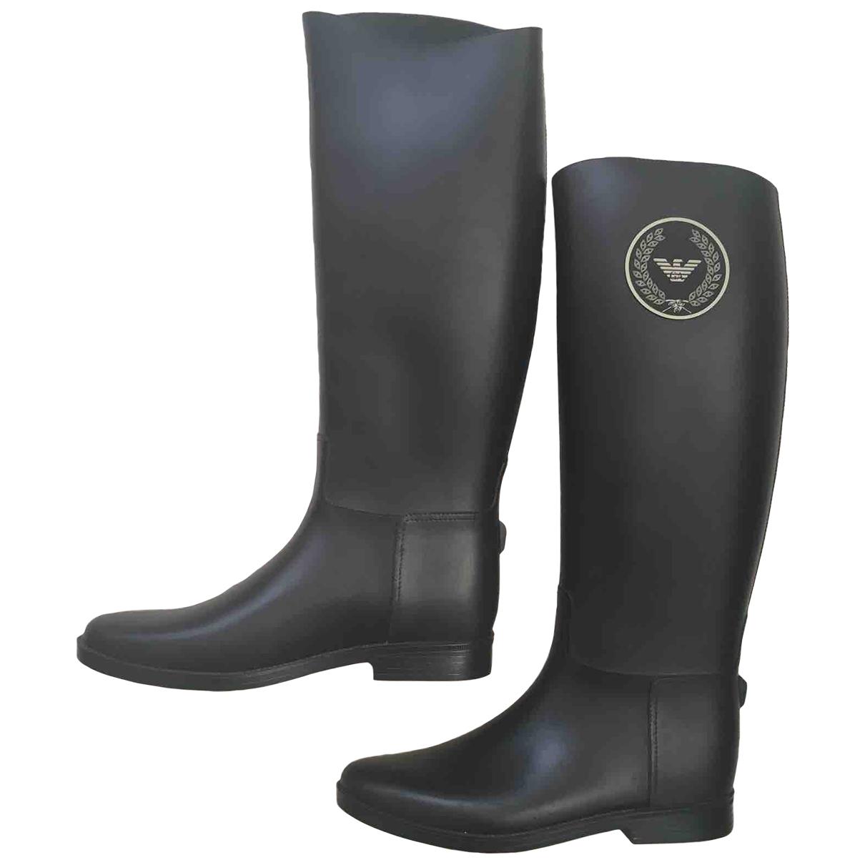 Giorgio Armani - Bottes   pour femme en caoutchouc - noir