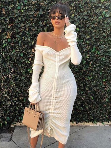 Milanoo Vestido ajustado sexy fuera del hombro Vestido de sueter Vestido de manga larga con forma