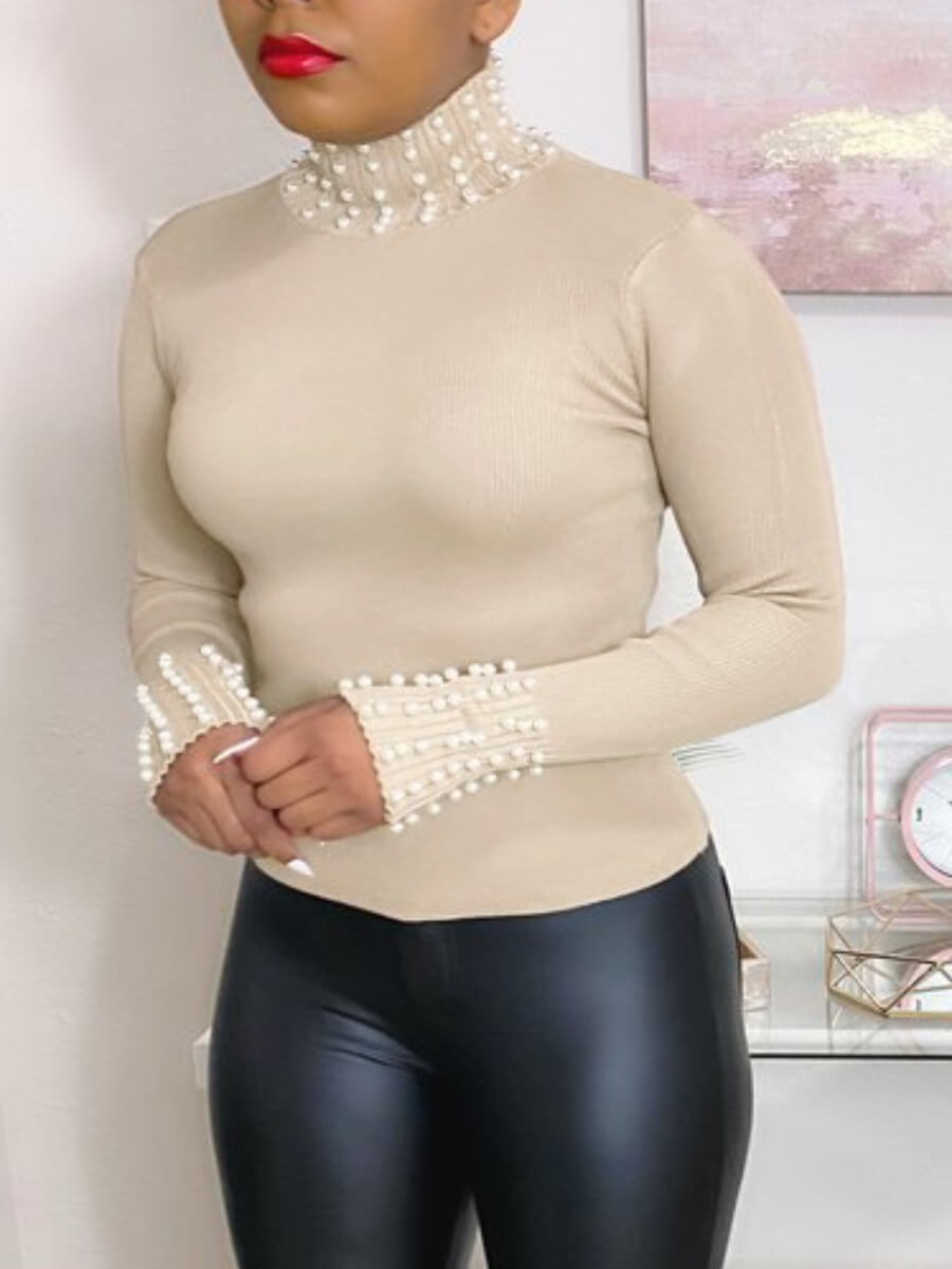 LW Lovely Street Turtleneck Pearl Decorative Apricot Tshirt