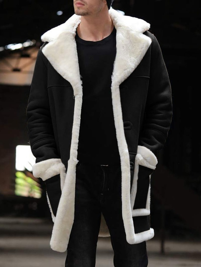 Ericdress Patchwork Mid-Length Color Block A Line Mens Winter Coat