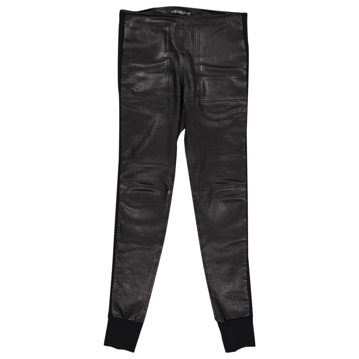 Balenciaga - Pantalon   pour femme en cuir - noir