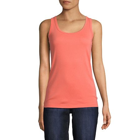 St. John's Bay Tall Womens Scoop Neck Sleeveless Tank Top, Xx-large Tall , Pink