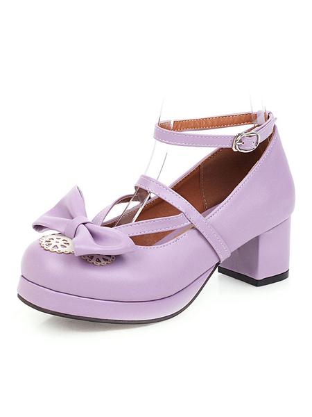 Milanoo Sweet Lolita Footwear Pink Bow Bows Zapatos de punta redonda PU Leather Pumps Lolita
