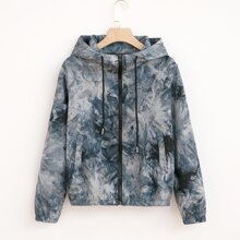 Zip Up Drawstring Tie Dye Hooded Jacket