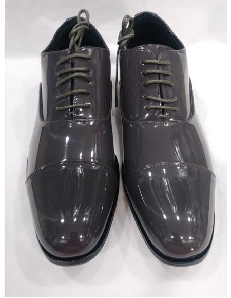 Men's Lace Up Six Eyelet Lacing Cushioned Insole Gray Shoes