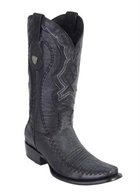 Mens Black Dubai Square Toe Wild West Genuine Lizard Handcrafted Boots