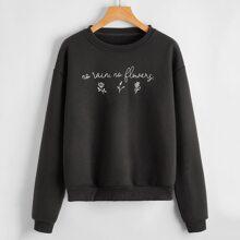 Slogan Flower Graphic Sweatshirt