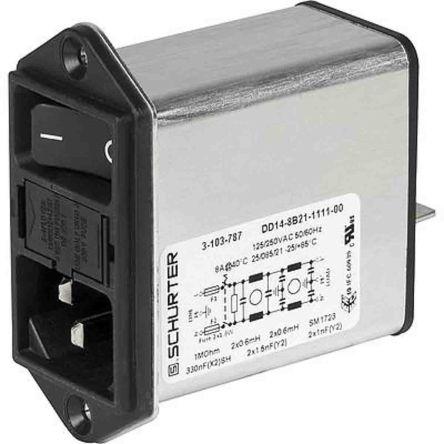 Schurter ,8A,250 V ac Screw Mount Filtered IEC Connector 3-103-779