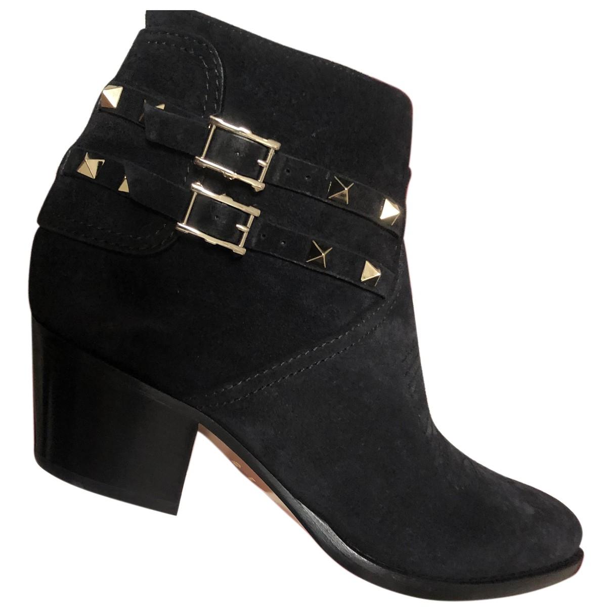 Valentino Garavani Rockstud Black Suede Ankle boots for Women 41 IT