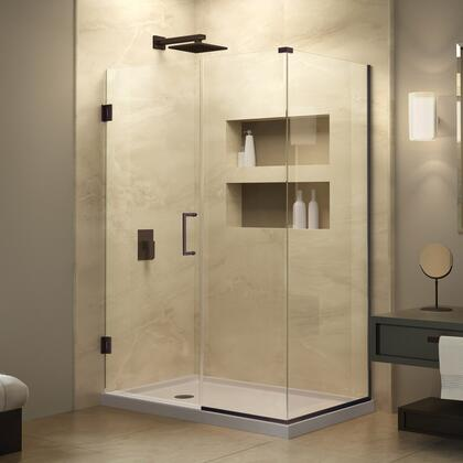 SHEN-24490340-06 Unidoor Plus 49 In. W X 34 3/8 In. D X 72 In. H Frameless Hinged Shower Enclosure  Clear Glass  Oil Rubbed
