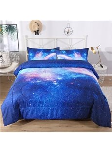 Dreamy Blue Galaxy 3D Printed 3-Piece Polyester Comforter Sets