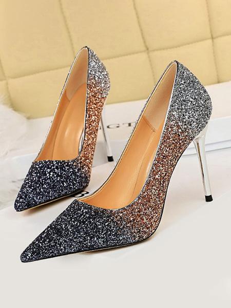 Milanoo Zapatos de fiesta con lentejuelas Zapatos de noche de tacon alto sin cordones para mujer