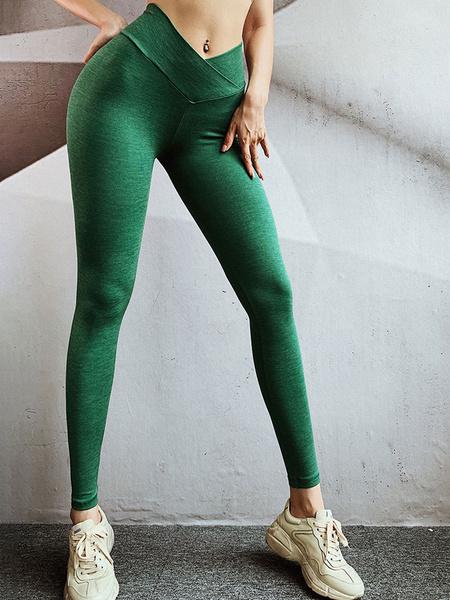 Milanoo Pantalones Pantalones de cintura de poliester verde oscuro Pantalones de yoga