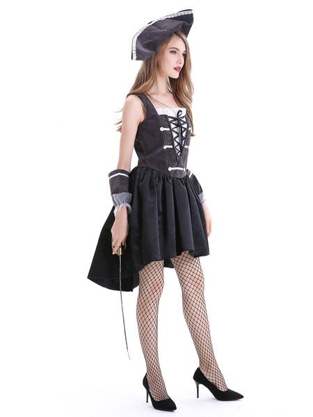 Milanoo Women\'s Pirate Costume Carnival Black Polyester Dress Carnival Costumes