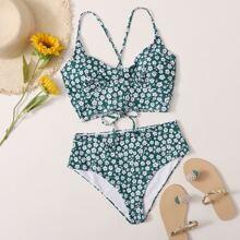 Sets de bikini Cruzado floral de margarita Verde Dulce