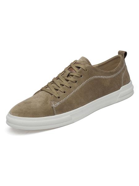 Milanoo Mens Sneakers Comfy Cowhide Round Toe Khaki Casual Shoes
