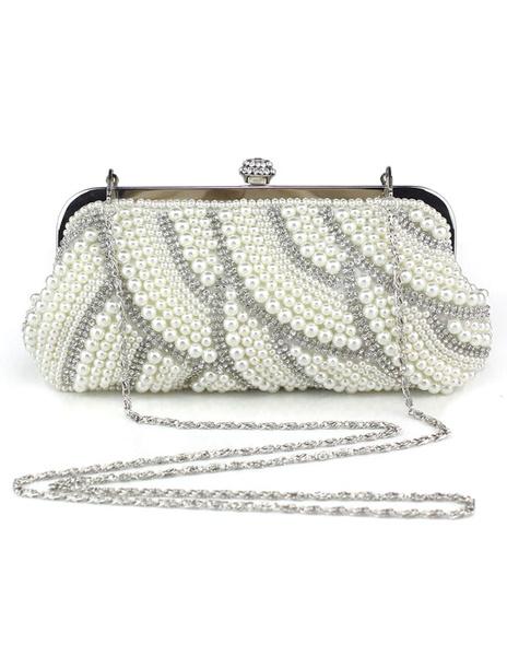 Milanoo Evening Clutch Bag Pearls White Evening Bags Rhinestones Chain Strap Bridal Purse