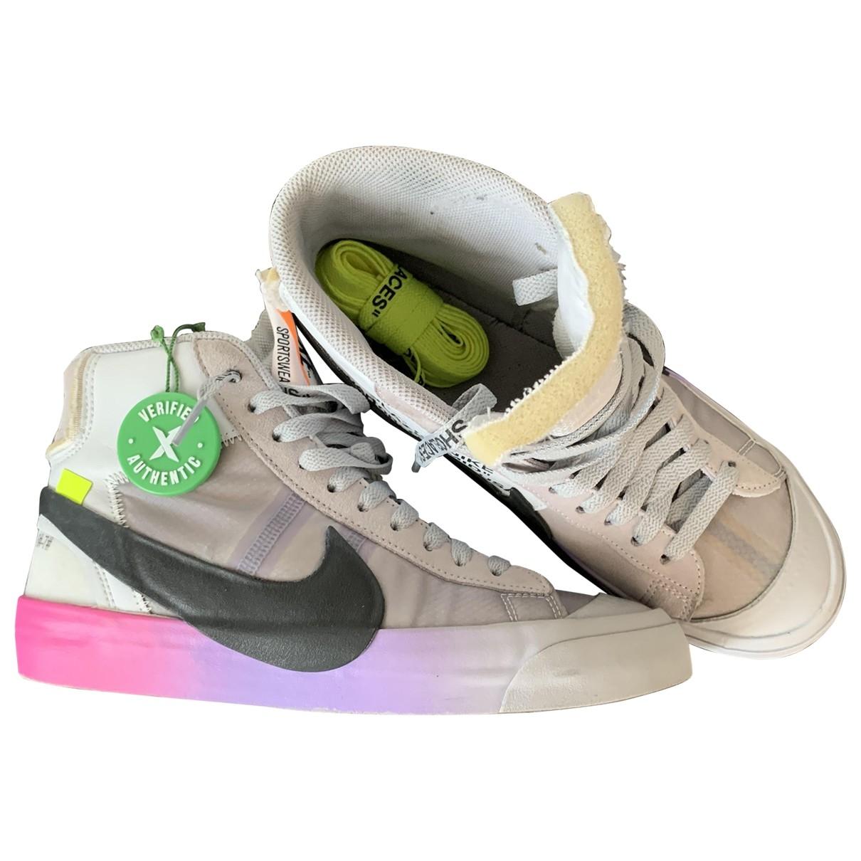 Nike X Off-white - Baskets Blazer Mid pour femme en toile - gris