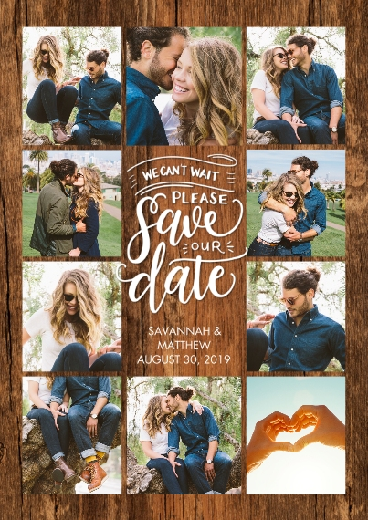 Save the Date Flat Matte Photo Paper Cards with Envelopes, 5x7, Card & Stationery -Save the Date Rustic Collage